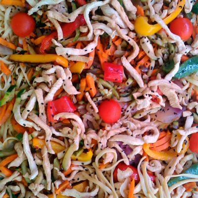 Wok de verduras con pollo